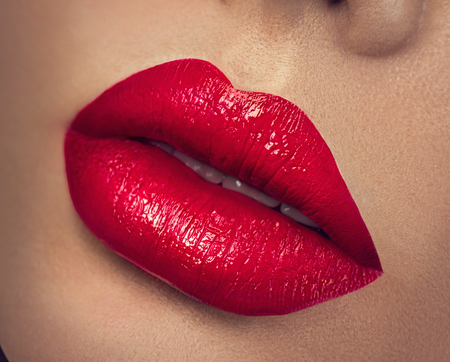 Photo for Sexy lips. Beauty red lips makeup closeup - Royalty Free Image