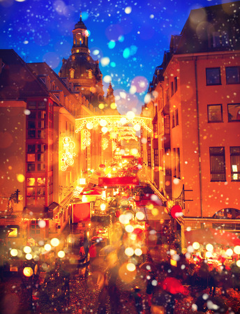 Photo for Traditional Christmas market in an old European town - Royalty Free Image