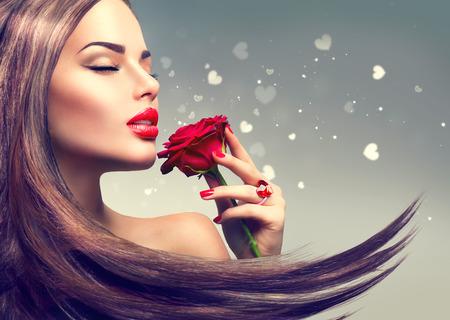 Photo pour Beauty fashion model woman with red rose flower - image libre de droit