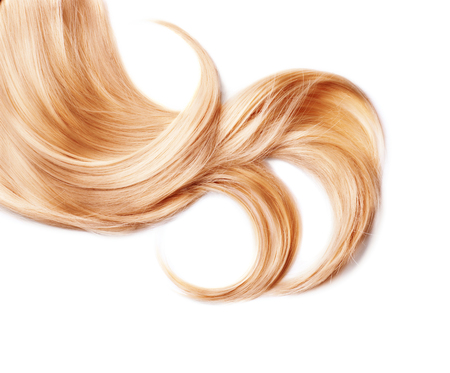 Photo pour Curl of healthy blond hair isolated on white - image libre de droit