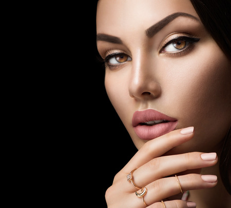 Foto de Perfect woman lips with fashion natural beige matte lipstick makeup - Imagen libre de derechos