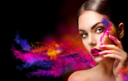 Foto de Beauty woman with bright color makeup - Imagen libre de derechos