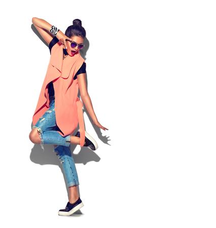 Foto de Fashion model girl full length portrait isolated on white background - Imagen libre de derechos