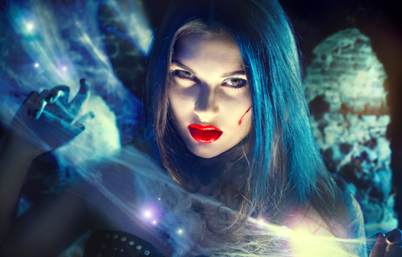 Photo for Beautiful Halloween vampire woman portrait. Beauty sexy witch - Royalty Free Image