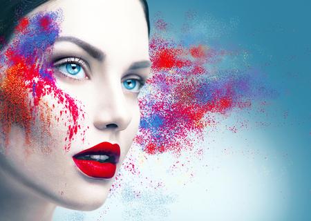 Foto de Fashion model girl portrait with colorful powder makeup - Imagen libre de derechos