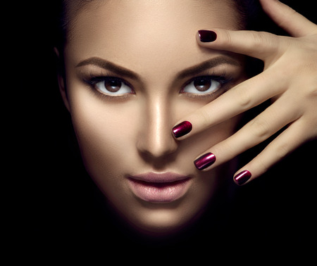 Photo for Fashion model girl face, beauty woman makeup and manicure over dark background - Royalty Free Image