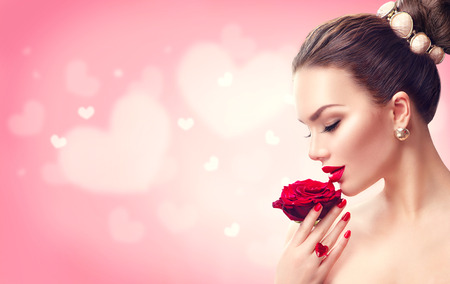 Photo for Valentine's day. Woman with red rose. Fashion model girl face portrait - Royalty Free Image