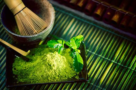 Foto de Matcha powder. Organic green matcha tea ceremony - Imagen libre de derechos