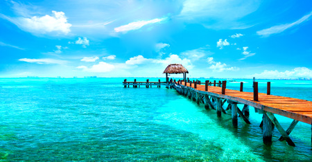 Photo for Exotic Caribbean paradise. Travel, tourism or vacations concept. Tropical beach resort - Royalty Free Image