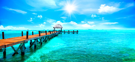 Photo for Exotic Caribbean island. Tropical beach resort. Travel or vacations concept - Royalty Free Image