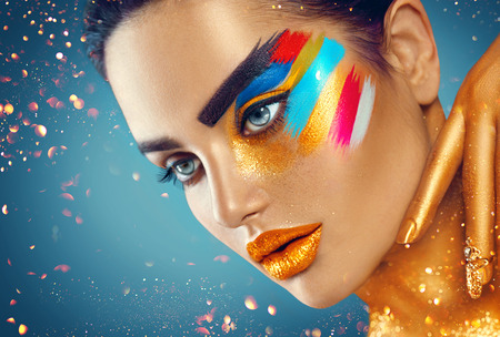 Photo for Beauty fashion art portrait of beautiful woman with colorful abstract makeup - Royalty Free Image