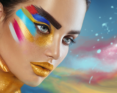 Photo pour Beauty fashion art portrait of beautiful woman with colorful abstract makeup - image libre de droit