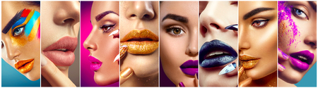 Foto de Makeup collage. Beauty makeup artist ideas. Colorful lips, eyes, eyeshadows and nail art - Imagen libre de derechos
