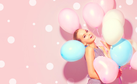 Foto für Beauty joyful teenage girl with colorful air balloons having fun - Lizenzfreies Bild
