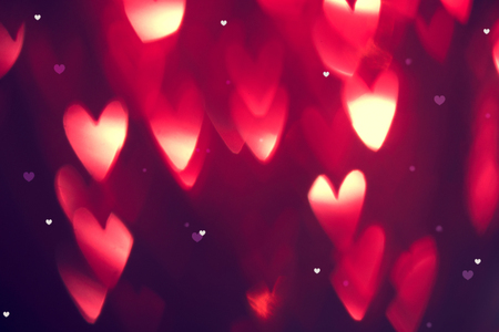 Photo for Valentine's Day background. Holiday abstract background with red glowing hearts - Royalty Free Image