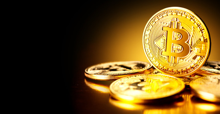 Photo pour Bitcoin crypto currency. BTC coins. Blockchain technology, Bitcoin mining concept - image libre de droit