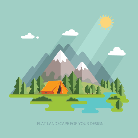Illustration pour summer  landscape. Morning landscape in the mountains. Solitude in nature by the river. Weekend in the tent. Hiking and camping. Vector flat illustration - image libre de droit