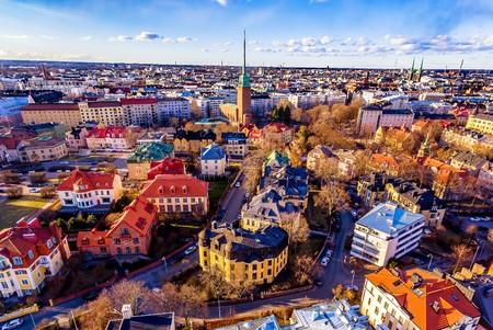 Foto de Aerial View of  colorful Helsinki. - Imagen libre de derechos