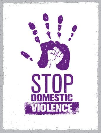 Ilustración de Stop Domestic Violence Stamp. Creative Social Vector Design Element Concept. Hand Print With Fist Inside Grunge Icon. - Imagen libre de derechos