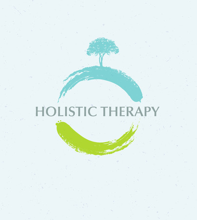 Ilustración de Holistic Therapy Tree With Roots On Organic Paper Background. Natural Eco Friendly Medicine Vector Concept - Imagen libre de derechos
