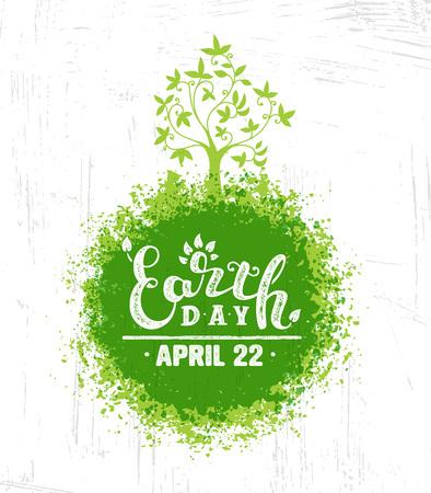 Illustrazione per Happy Earth Day Eco Sustinble Design Element. Vector Rough Banner Concept On Grunge Background - Immagini Royalty Free