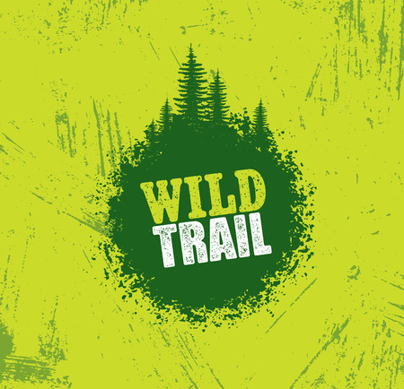 Ilustración de Outdoor Adventure Trail Creative Vector Design Concept. Extreme Activity Event Sign On Grunge Background - Imagen libre de derechos