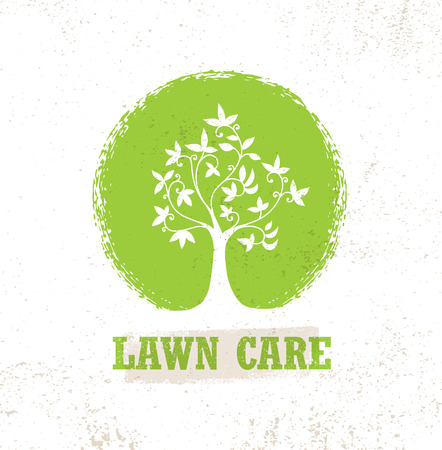 Illustration pour Lawn Care Creative Organic Vector Sign Concept. Eco Tree Icon On Raw Background - image libre de droit