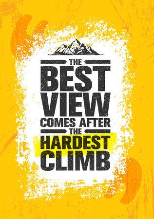 Illustration pour The Best View Comes After The Hardest Climb. Adventure Mountain Hike Creative Motivation Concept. - image libre de droit