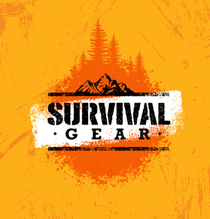 Ilustración de Survival Gear Extreme Outdoor Adventure Creative Design Element Concept On Rough Stained Background. - Imagen libre de derechos