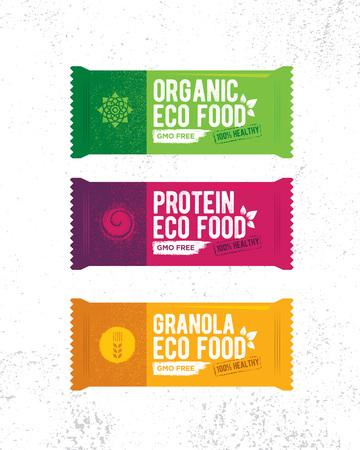 Illustration pour Healthy Organic Snack Bar Illustration. Raw Eco Food Vector Design Concert On Grunge Rough Background - image libre de droit
