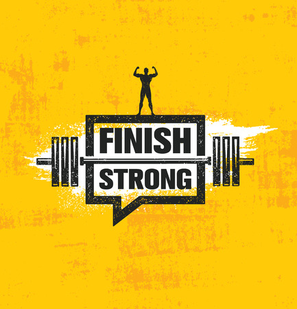 Ilustración de Finish Strong. Inspiring Workout and Fitness Gym Motivation Quote Illustration Sign. Creative Strong Sport Vector - Imagen libre de derechos