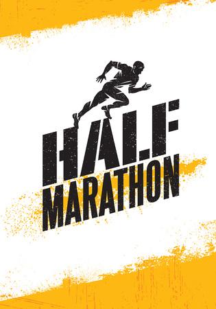 Ilustración de Half Marathon Active Sport Event Advertisement Banner Concept. Creative Sport Design Element On Rough. - Imagen libre de derechos