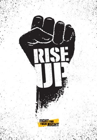 Illustration pour Rise Up. Fight For Your Right Motivation Poster Illustration Concept. Rough Vector Fist Illustration Design - image libre de droit