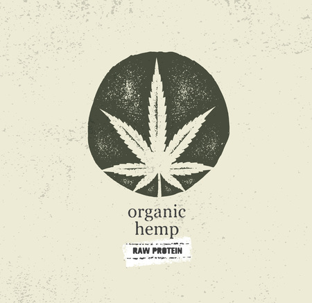 Ilustración de Organic Hemp Farm Raw Protein Supplement Health Care Vector Design Element. Medicine Cannabis Oil Nutrition Sign - Imagen libre de derechos