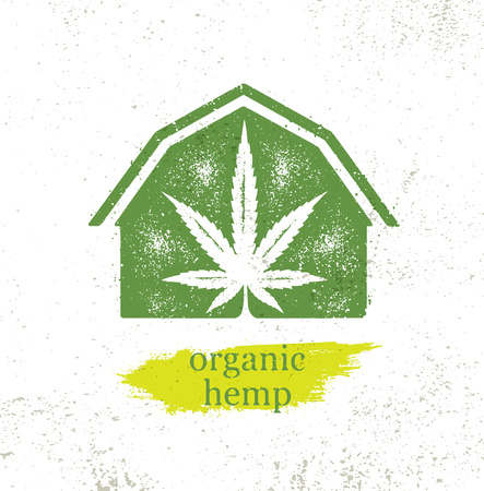 Illustration for Organic Hemp Farm Raw Protein Supplement Health Care Vector Design Element. Medicine Cannabis Oil Nutrition Sign - Royalty Free Image