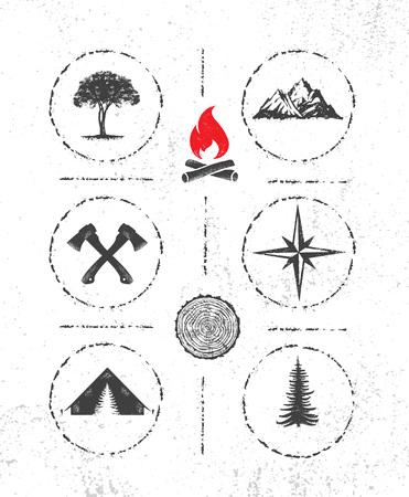 Ilustración de Adventure Mountain Survival Gear Hike Creative Motivation Concept. Extreme Outdoor Design Vector on Rough Distressed Texture Background - Imagen libre de derechos