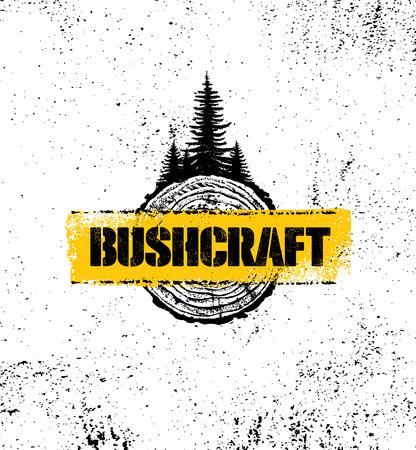 Ilustración de Adventure Mountain Hike Bushcraft Creative Motivation Sign Set Concept. Survival Equipment Vector Outdoor Design on Organic Rough Distressed Textured Background. - Imagen libre de derechos