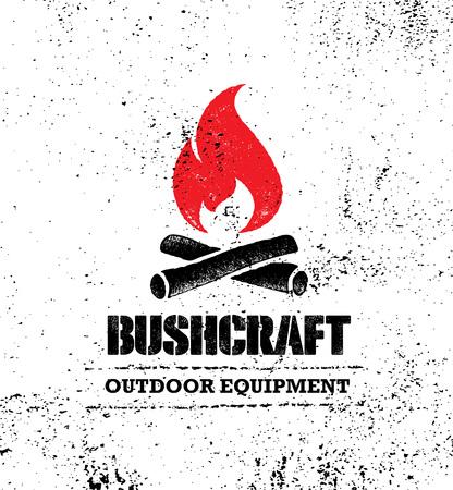 Ilustración de Adventure Mountain Hike Bushcraft Creative Motivation Sign Set Concept. Survival Equipment Vector Outdoor Design - Imagen libre de derechos