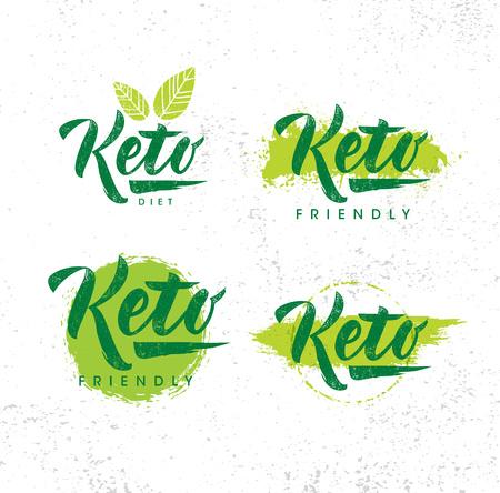 Ilustración de Keto Friendly Diet Nutrition Vector Design Elements On Rough Organic Textured Background. - Imagen libre de derechos