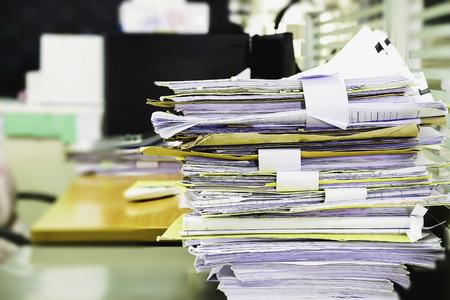Photo pour Pile of unfinished documents on office desk, Stack of business paper - image libre de droit