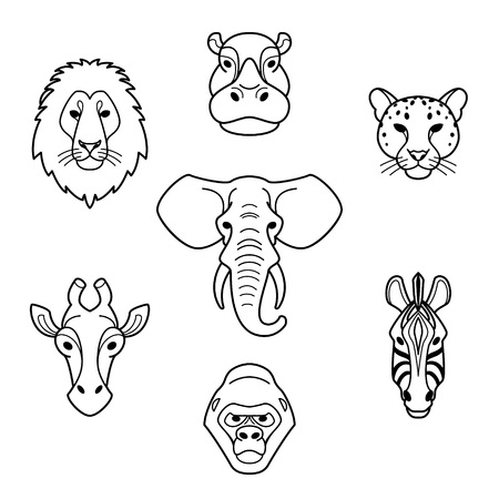 Illustration for African animals in flat style.Line head of elephant,lion,zebra,gorilla,giraffe,hippo and jaguar.Vector isolated icons. - Royalty Free Image