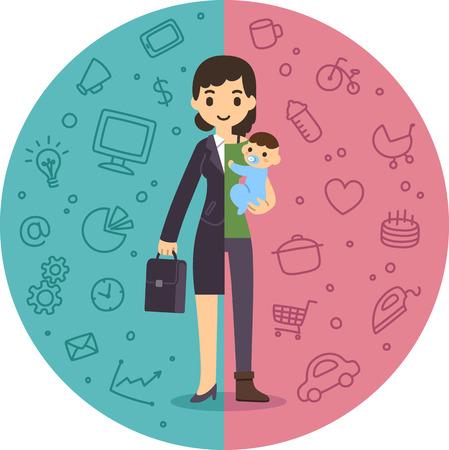 Illustration pour Illustration of the concept of life and work balance.  - image libre de droit