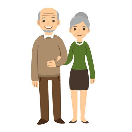 Illustration for Cute cartoon senior couple isolated on white background. - Royalty Free Image