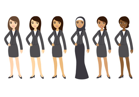 Ilustración de Six cartoon young businesswomen of different ethnicities in formal clothes. Isolated on white background. - Imagen libre de derechos