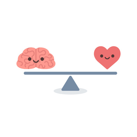 Illustration pour Illustration of the concept of balance between logic and emotion. Cartoon brain and heart with cute faces on a scale. Simple and modern flat vector style isolated on white background. - image libre de droit
