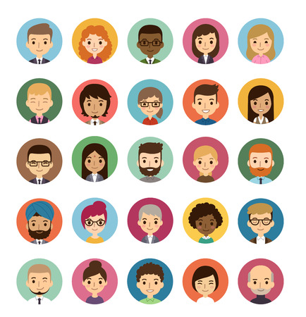 Ilustración de Set of diverse round avatars isolated on white background. Different nationalities, clothes and hair styles. Cute and simple flat cartoon style. - Imagen libre de derechos
