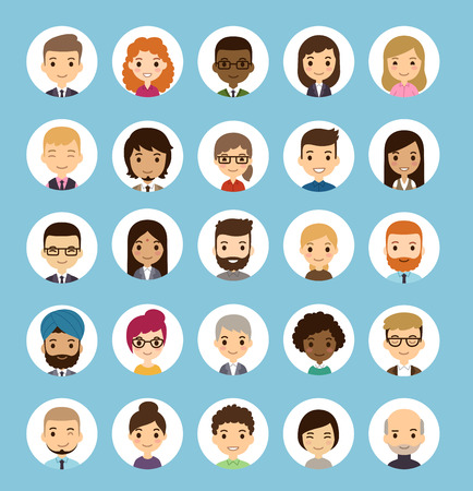 Ilustración de Set of diverse round avatars. Different nationalities, clothes and hair styles. Cute and simple flat cartoon style. - Imagen libre de derechos