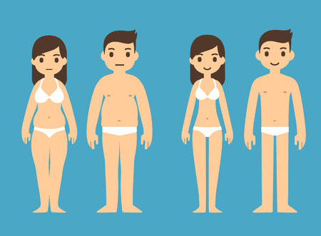 Illustration pour Cute cartoon man and woman in underwear with male and female symbols above. - image libre de droit