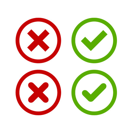 Illustration pour A set of four simple web buttons: green check mark and red cross in two variants (square and rounded corners). - image libre de droit