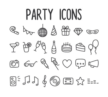 Illustration for Set of hand drawn party themed line icons. - Royalty Free Image